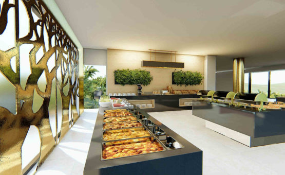 Τρισδιαστάτος σχεδιασμός αίθουσας πρωινού σε Ξενοδοχείο στην Μυτιλήνη από την γραμμική α